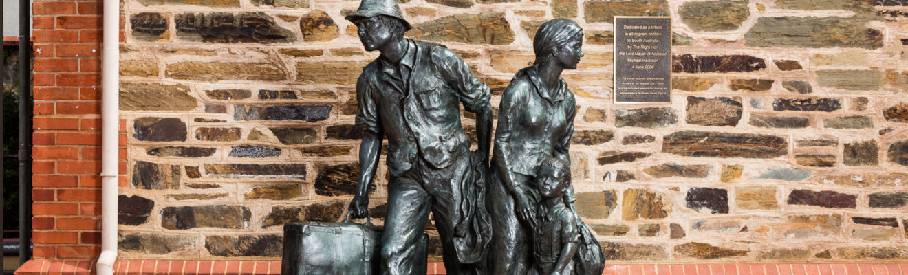 The Immigrants - sculpture of family migrating to Australia