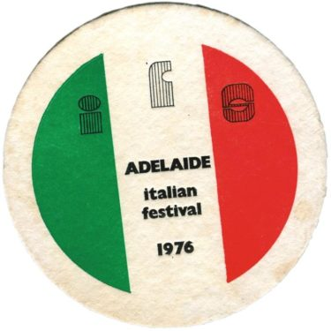 Cardboard coaster for the Adelaide Italian Festival 1976