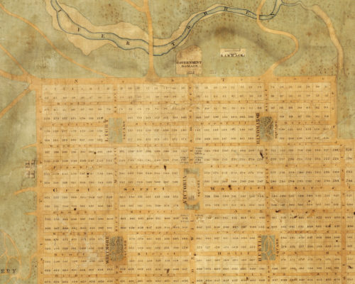 detail, Light's Plan, setting out the settlement of Adelaide, 1837